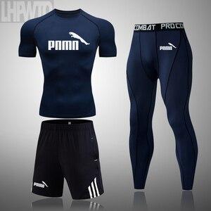 3 pçs/sets camiseta de manga curta do esporte masculino trabalhar para fora terno de compressão ginásio treino elástico todos os workout correndo conjunto
