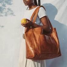 Vintage grande capacité fourre-tout femmes sacs à bandoulière conception sacs à main de luxe huile cire en cuir sac de messager dame décontracté grands sacs à main 2021