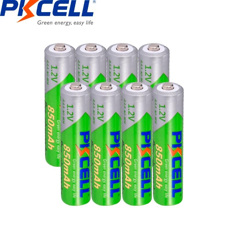 8Pcs*PKCELL 1.2V AAA Battery 850mAh NI-MH 3A Rechargeable Batteries Low Self Discharge Precharge Recharge Pilas Batteries Aaa