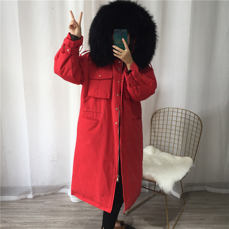 -30 Degree Women Winter Coat 2019 Large Real Natural Raccoon Fur Collar Thick Warm Down Parka Hooded Long White Duck Down Jacket