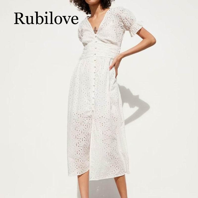 Rubilove Women White Dress Cotton Hollow Out Embroidery 2019 Summer New Fashion Slim Ladies Dresses