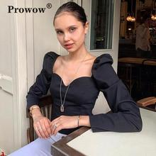 Prowow Vintage French Style Short Blouse Women Puff Sleeve Heart Neckline Sexy Princess Shirt Ladies 2020 Slim Elegant Blouses
