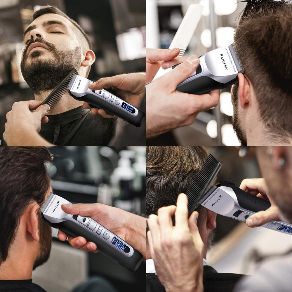 Image 2 - RUCHA Barber Electric Hair Clipper Rechargeable Hair Trimmer Titanium Ceramic Blade LCD Display Salon Men Hair Cutting Machine-in Hair Trimmers from Home Appliances