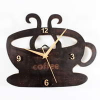 Kitchen Wall Clock Modern Design Coffee Cup Hanging Clock Pastoral Style Time Wood Watch Wall Clocks Home Decor Silent 12 inch