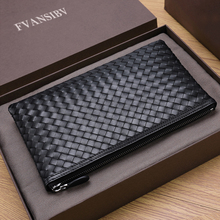 100% Cowhide Leather Men's Clutch Bag Luxury Brand Woven Lea