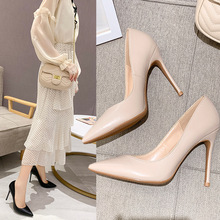 цена на 2019 French Nude Color High-heeled Shoes Sharp Sexy Occupation Fine With Black Single