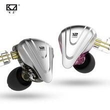 Kz zsx fones de ouvido terminator hybrid 12, fones intra auriculares com monitoramento e cancelamento de ruído, headset 5ba + 1dd de metal com drivers e graves hifi fones de ouvido
