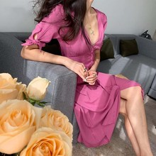 French Cotton Pink Women Dress Vestidos Buttons Dresses Holiday Long Casual Midi