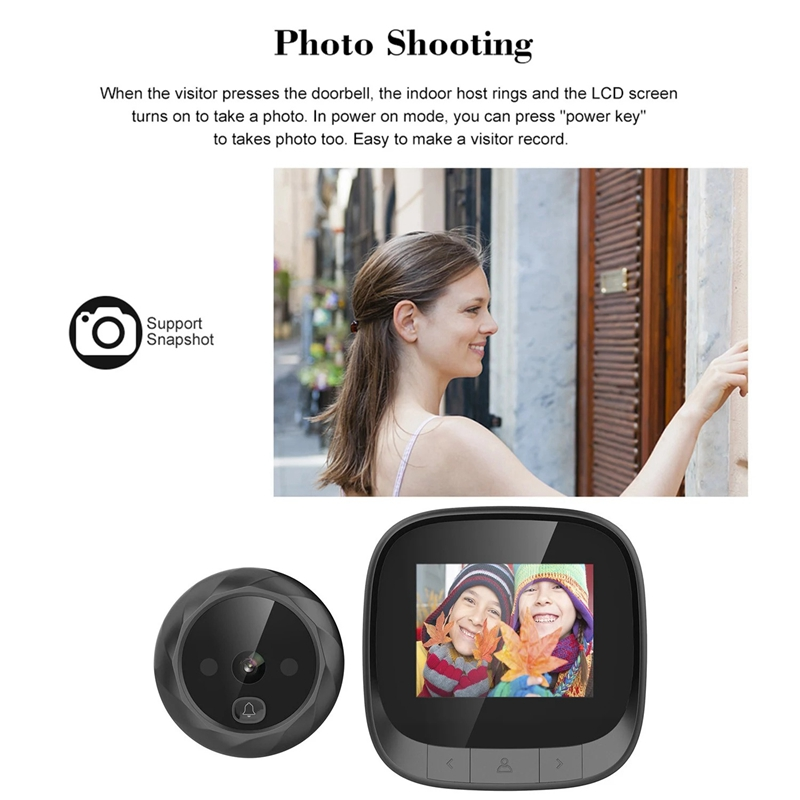 2.4 Inch LCD Screen Digital Door Viewer Peephole Door Camera Doorbell Support 90 Degree Wide Angle IR Night Vision Digital Door