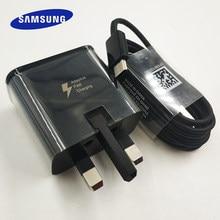 Samsung uk plug carregador rápido adaptador de carga rápida tipo c cabo para samsung galaxy note 10 plus 10 + s10 s8 s9 mais a3 a5 a7 2017