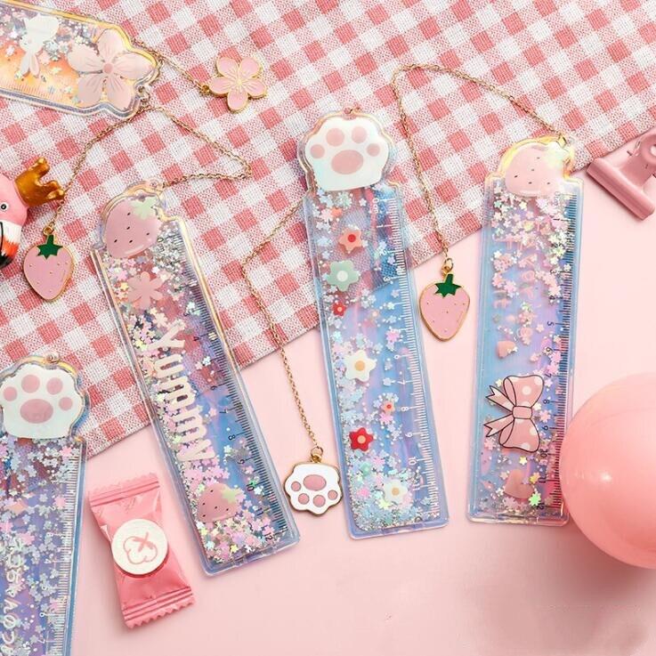 New Arrival 1PC Kawaii Cherry Blossoms Rabbit Cat Oil-insert Bookmark Multifunctional Ruler School Stationery Best Birthday Gift