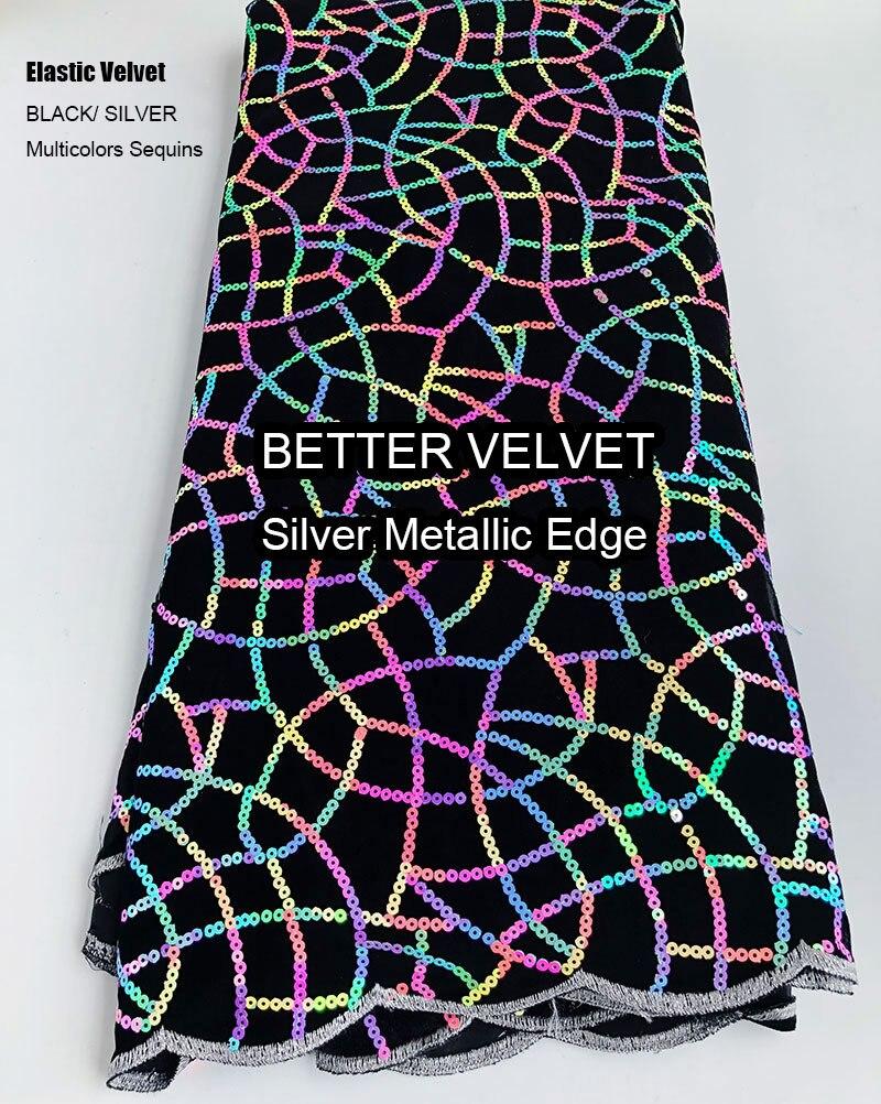 5 yards multicolore paillettes doux élastique africain velours dentelle belle brillant Nigeria Ghana tissu à coudre choix judicieux de haute qualité