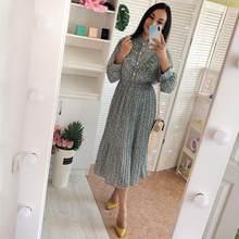 2021 primavera e no outono novo estilo floral-print chiffon vestido feminino francês vintage base vestido de fadas vestido imortal