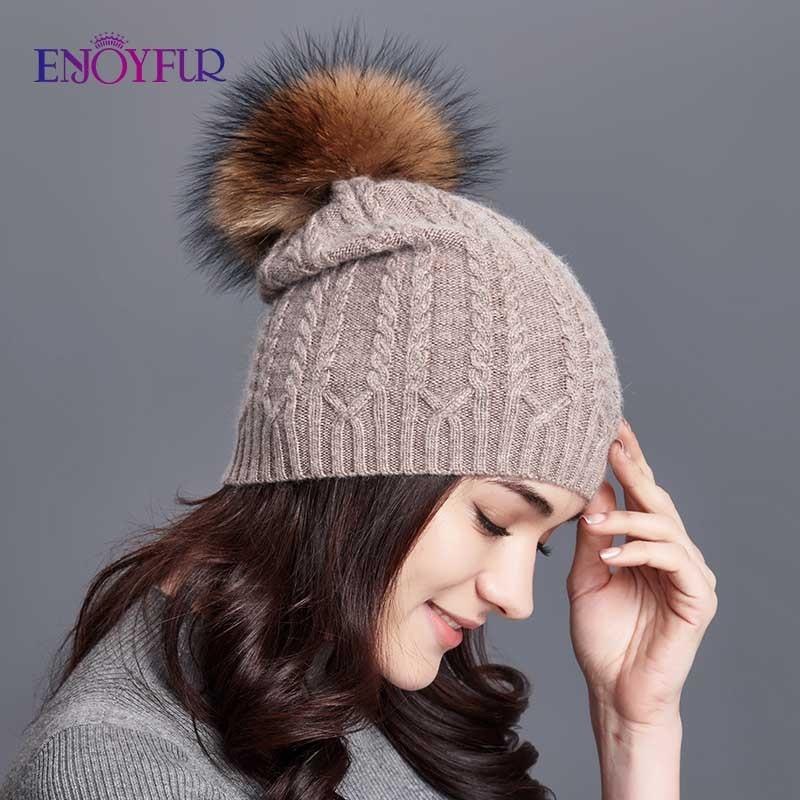 ENJOYFUR Winter Hats For Women Twist-type Cashmere Knitted Hat Female Beanies Girl Gorro Fashion Thick Warm Pompom Caps