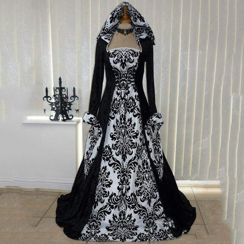 Rosetic Gothic Black Medieval Print Bandage  Maxi Dress Women Vintage Retro Elegant Party Gown Victorian Hooded Robe 2019 Winter