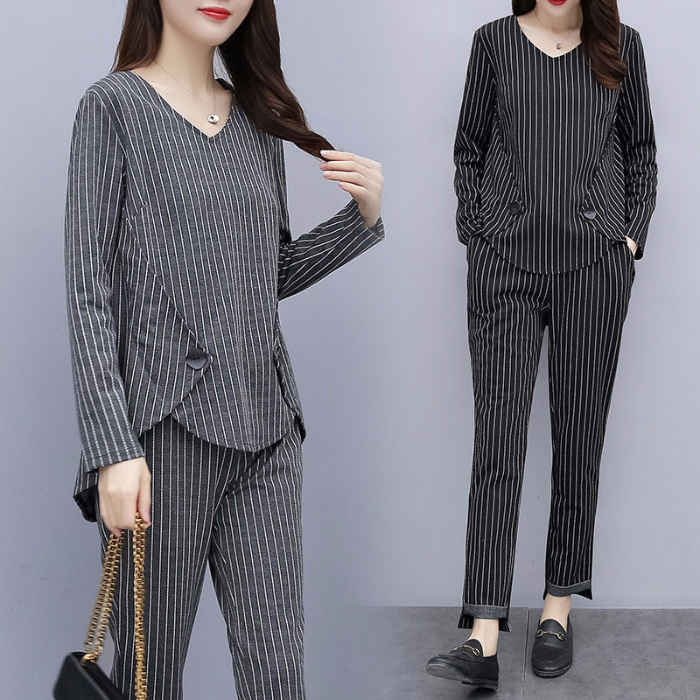 L-5xl Plus Size Striped Two Piece Sets Outfits Women Long Sleeve Tops And Pants Suits Casual Office Elegant Korean Matching Sets 33