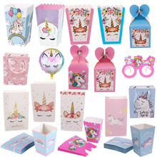 Unicorn birthday party decorations party cute gift packing paper bag popcorn candy box baby shower birthday party decoration sup(China)