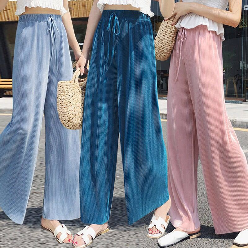 Fashion Ice Silk Chiffon Pleated Wide Leg Pants Female Summer Autumn Loose Casual Elastic Waist  Pants Trousers Y