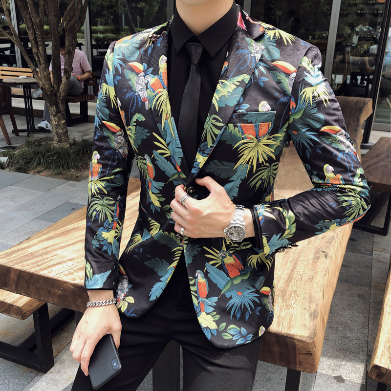 British Style Floral Blazer Men Autumn Winter Long Sleeve Men Blazer Slim Fit Casual Men Suit Coats Streetwear Suit Jackets Men