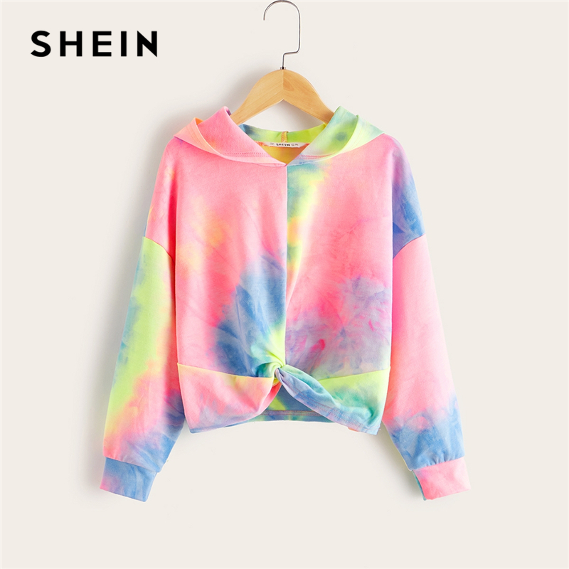 SHEIN Kiddie Girls Multicolor Twist Front Hooded Sweatshirt Kids 2019 Autumn Long Sleeve Tie Dye Colorblock Casual Sweatshirts