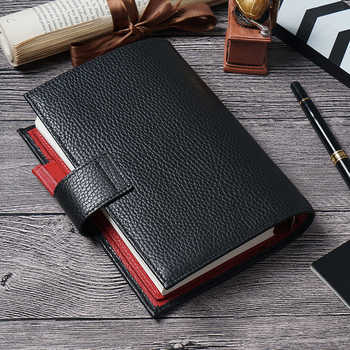 Genuine Leather Notebook Organizer Rings Binder Planner Cover Personal Size Diary Journal Sketchbook Agenda with Big Pocket