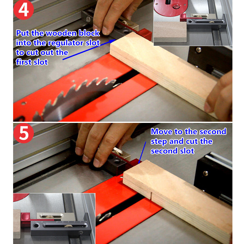 HOT Woodworking Tables Measuring Blocks Tables Saw Slot Adjuster Mortise And Tenon Tool NDS66