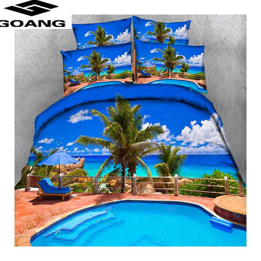 GOANG popular gifts bedding set duvet cover set and pillowcases twin bedding home textile Hawaii beach scenery linens 240/220