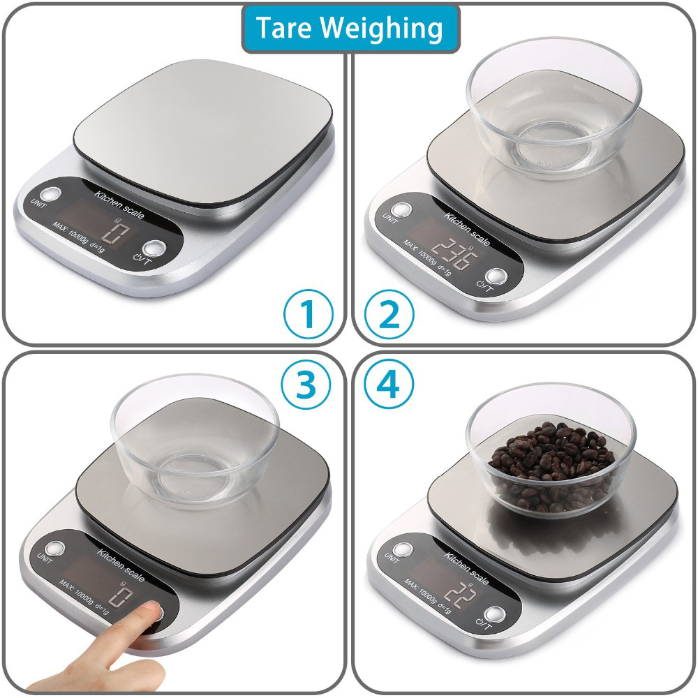 10 кг Цифровой Кухня Еда весы ЖК-дисплей Дисплей Многофункциональный Вес электронные весы для выпечки и Пособия по кулинарии торт весы серебряный черный цвет-4