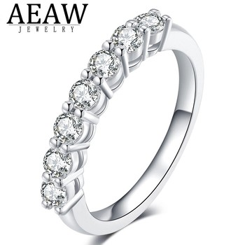 0.7ctw 3mm DF Round Cut Engagement&Wedding Moissanite Lab Grown Diamond Band Ring Sterling Silver for Women