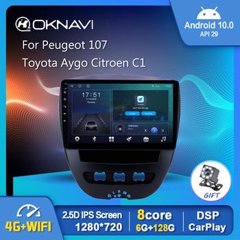 1280*720P Android 10 0 Radio samochodowe dla Peugeot 107 dla Toyota Aygo Citroen C1 2005-2013 nawigacja GPS WIFI Carplay Stereo tanie i dobre opinie JUSTNAVI CN (pochodzenie) podwójne złącze DIN NONE 4*45W System operacyjny Android 10 0 JPEG composite material 1280*780