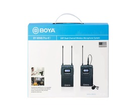 BOYA BY-WM8 Pro-K1 UHF Dual-Channel Lavalier Wireless Microphone System with LCD Screen for Canon Nikon DSLR Camera Camcorder