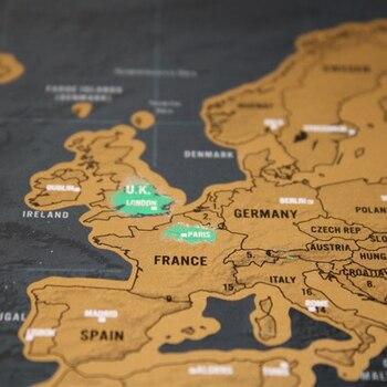 Роскошные черные украшения Карта мира царапина карта мира персональная дорожная царапина для карты комнаты украшения дома наклейки на сте...