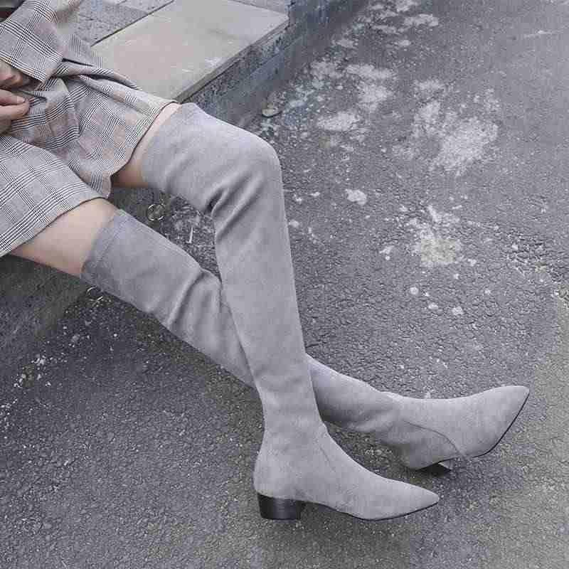 Krazing pot streetwear moda streç çizmeler inek deri sivri burun med topuklar kaya fermuar sıcak tutmak kadın uyluk yüksek çizmeler l75