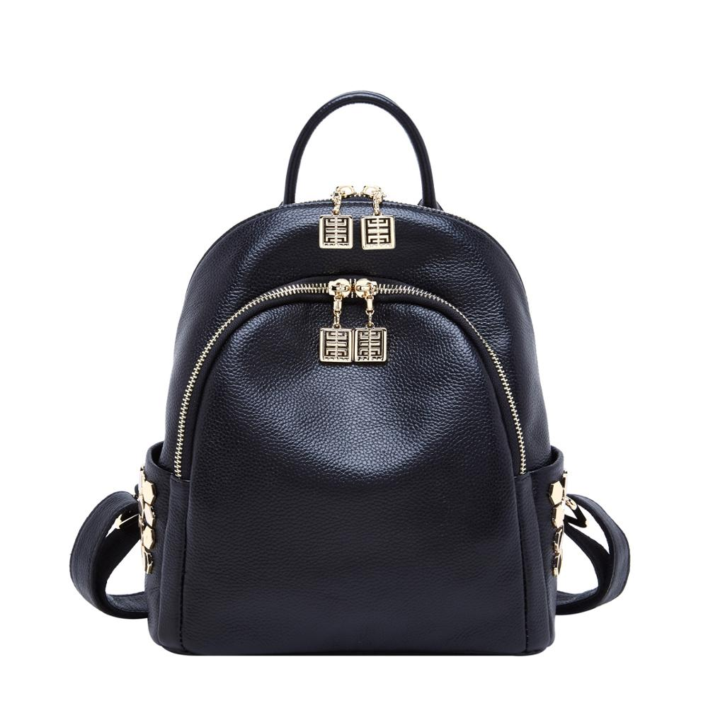 Small Genuine Leather Backpack For Women 2019 Fashion School Backpack Designer Shoulder Bag Ladies Brand Schoolbag Rucksack Sac
