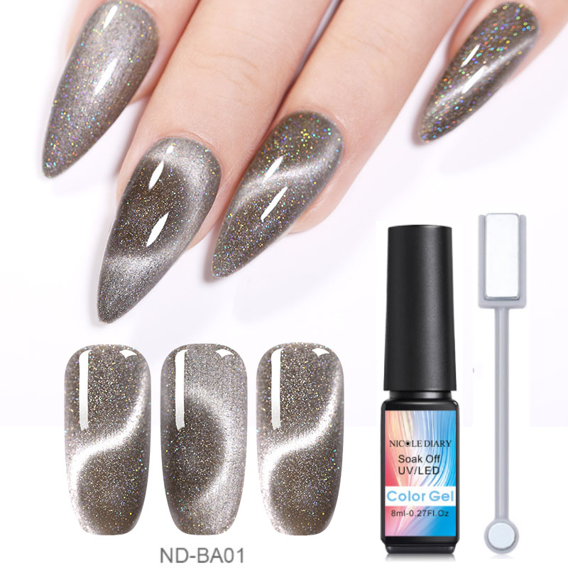 NICOLE DIARY 8ml  Cat Eye UV Gel Soak Off Nail Art Gel Polish Magnet Laser Nail UV Gel Nail Polish Varnish Varnish