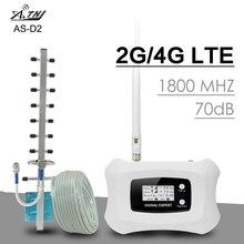 ATNJ 4G LTE Repetidor de señal de teléfono Moblie Ganancia de 70dB 4G DCS 1800MHz Amplificador de señal celular 2G 4G LTE banda de refuerzo 3 Pantalla LCD