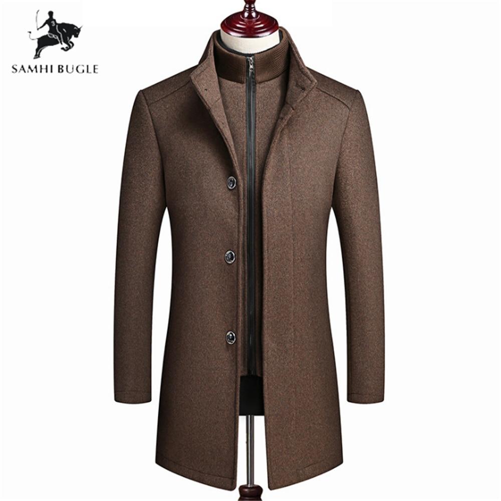 mens wool winter coats jackets 2020 Fashion High-end Leisur Long sections Coat Wool Winter Vest liner Coats Men Plus Size 4XL