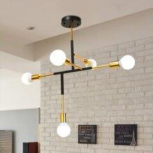 Nordic ouro lustre de iluminação luz teto interior hogar moderno lustre para sala estar decoracion e27 5 lâmpadas avizeler
