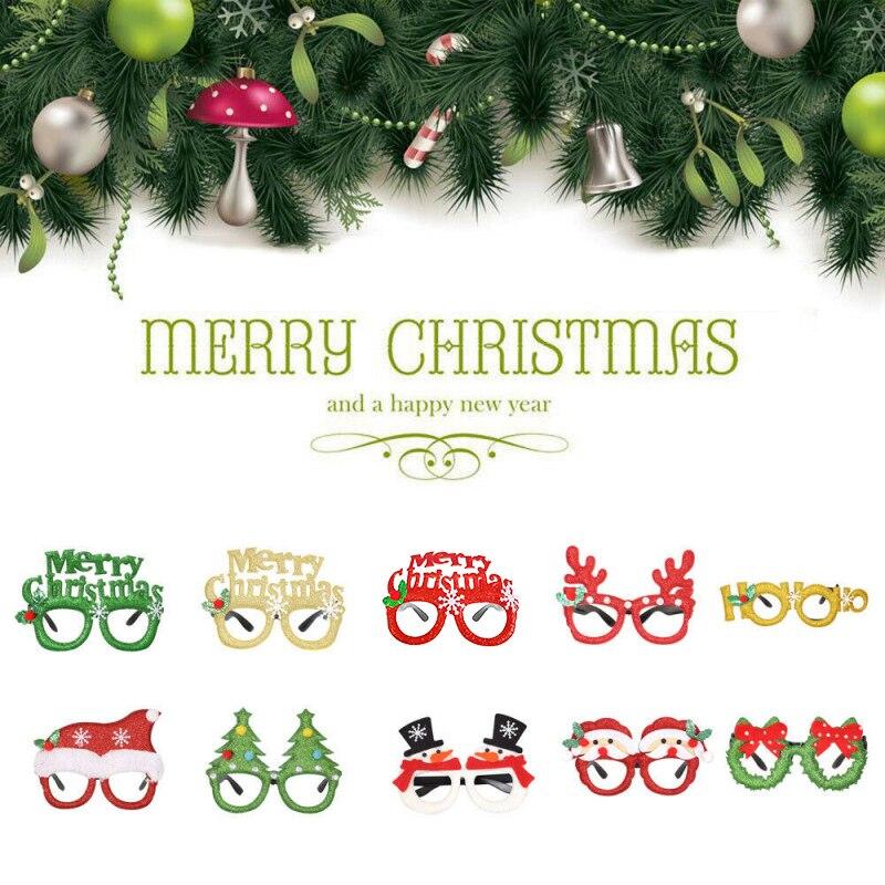 2019 Merry Christmas Ornaments Christmas Gift Santa Claus Snowman Tree Toy  Christmas Party Glasses Santa Snowman Adult Kid Gift