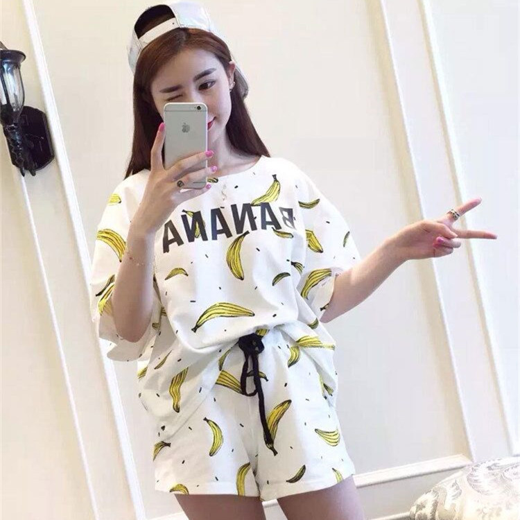 2018 New Style Summer Korean-style WOMEN'S Pajamas Banana Set Casual Homewear Set A Generation Of Fat