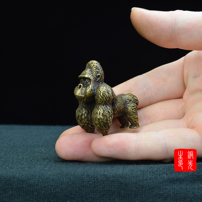 Solid Brass Gorilla Figurine Statue Paperweight Office Table Animal Decor