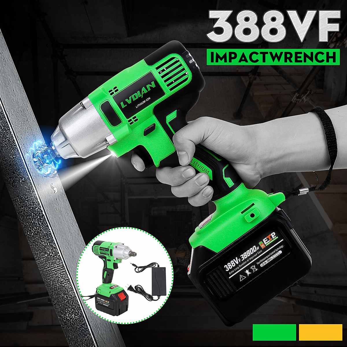388VF 300Nm 1/2 Electric Impact Wrench Brushless Impact Cordless Wrench Socket Wrench Power Tools Accessory 38800mah Battery|  - title=