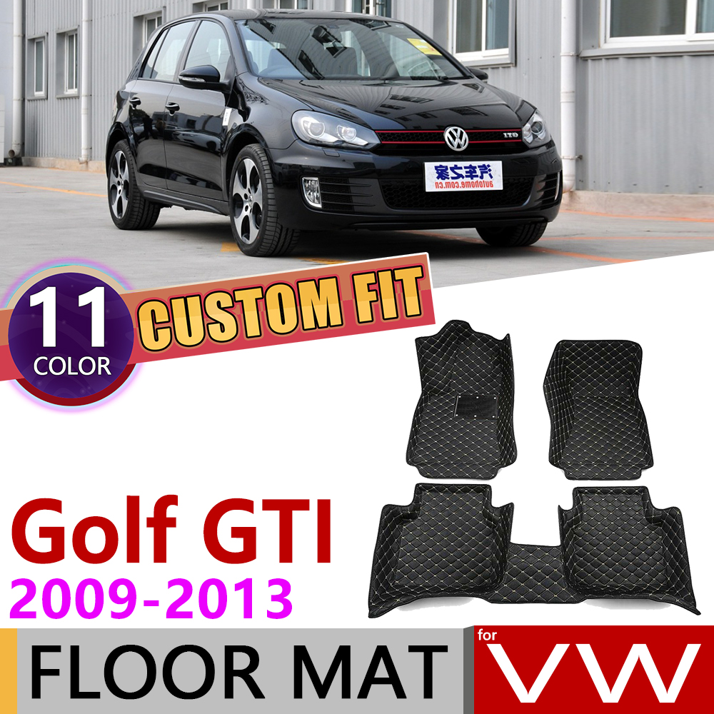 Custom Car Leather Floor Mats <font><b>for</b></font> Volkswagen <font><b>VW</b></font> <font><b>Golf</b></font> <font><b>6</b></font> <font><b>GTI</b></font> MK6 5K 2009~2013 5 Seats Foot Pad Carpet <font><b>Accessories</b></font> 2010 2011 2012 image