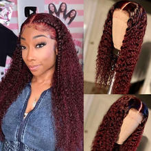 250 Density Deep Curly Lace Front Human Hair Wigs For Women Pre Plucked Brazilian Vrigin Burgundy 99J Colored Lace Front Wig