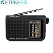 RETEKESS V117 AM FM SW נייד בכיר רדיו טרנזיסטור רדיו מקלט קצר גל סוללה מופעל מתקדם טיונר מקלט