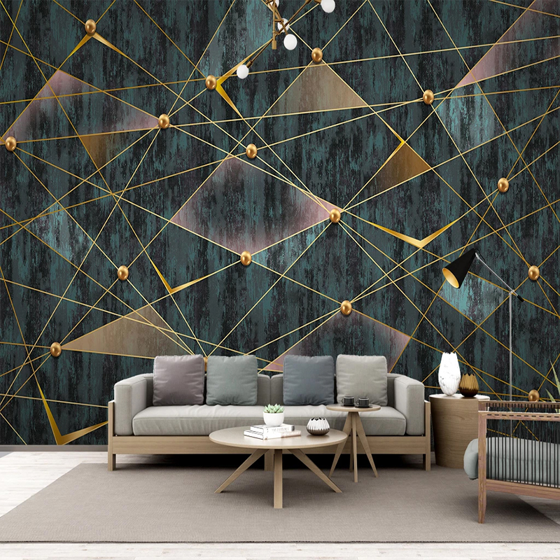 Custom 3D Wallpaper Modern Simple Geometric Lines Golden Ball Photo Wall Murals Living Room TV Sofa Luxury Home Decor Wallpapers