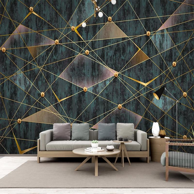 Custom 3D Wallpaper Modern Simple Geometric Lines Golden Ball Photo Wall Murals Living Room TV Sofa Luxury Home Decor Wallpapers