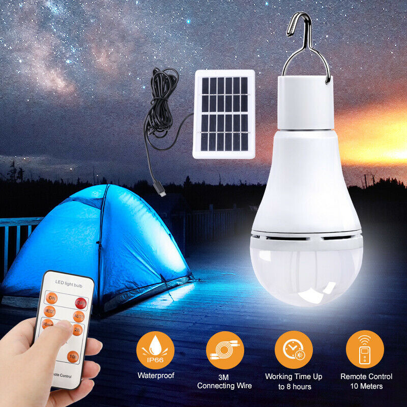 ZANCAKA 9W LED Solar Rechargeable Portable Hangable Remote Control Light Control Bulb Garden Camping Tent Emergency Night Light