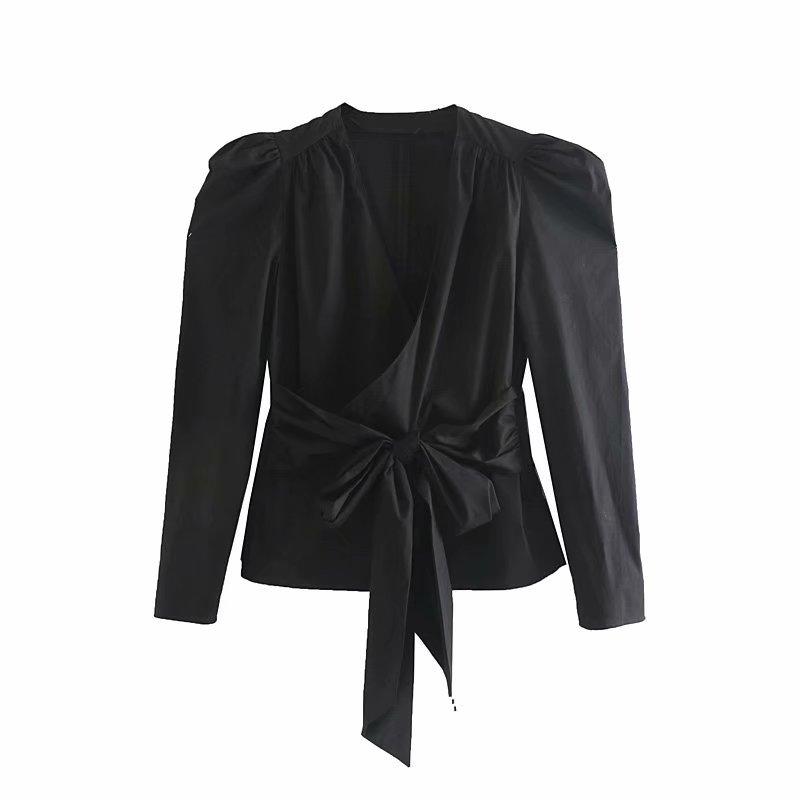2019 Women Cross V Neck Bow Tied Decoration Casual Black Blouses Shirts Women Puff Sleeve Kimono Blusas Chic Pleats Tops LS4132