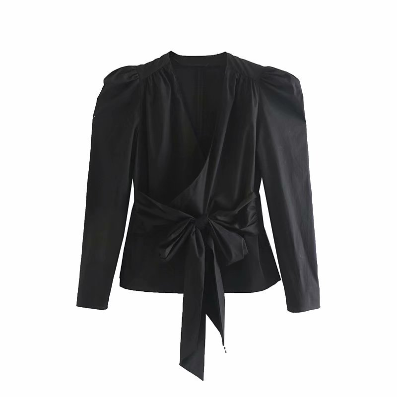 2019 women cross v neck bow tied decoration casual black   blouses     shirts   women puff sleeve kimono blusas chic pleats tops LS4132